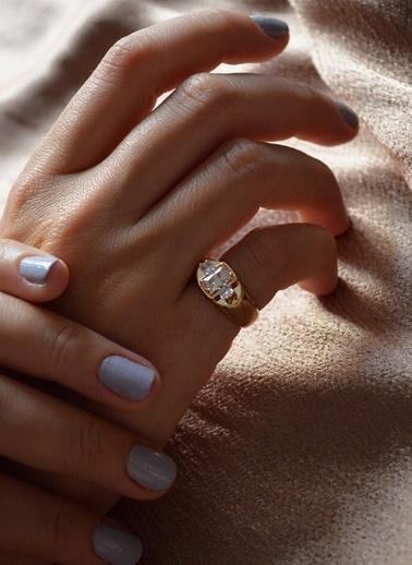 My Joyas Design Baget Taşlı Serçe Parmak Yüzüğü Altın